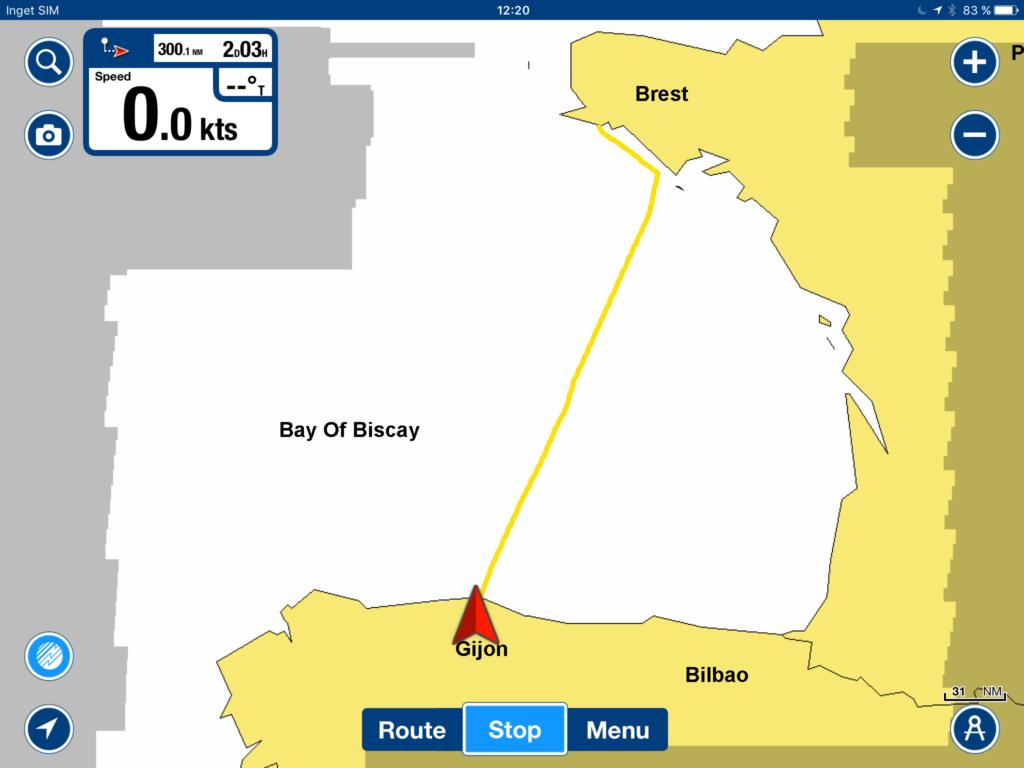 Vår planerade kurs mot Gijon i norra Spanien.