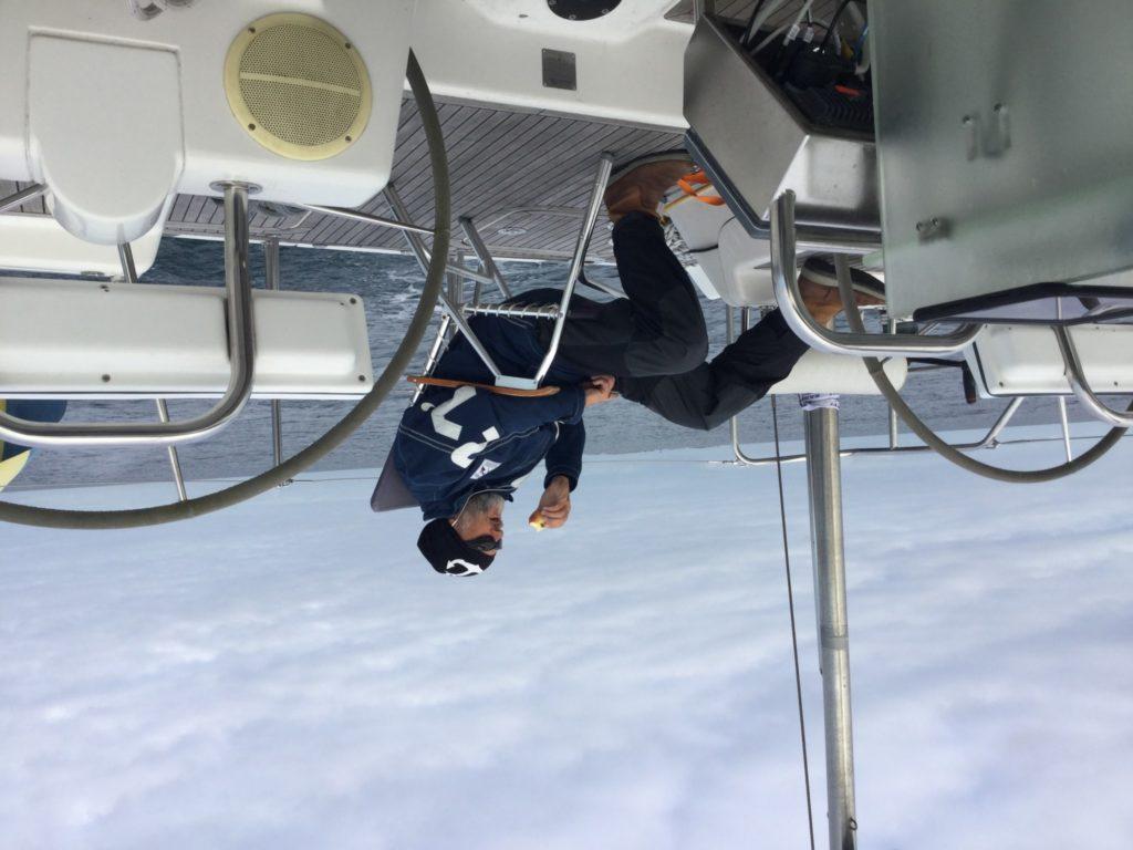 Utkik på akterdäck i lugnt väder på Biscaya
